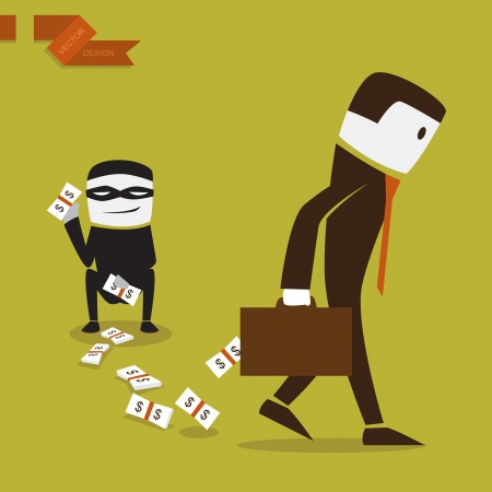 Gesch�ftsmann, der Geld verloren in einer Anlage, Abbildung von Vektor-Design. Illustration