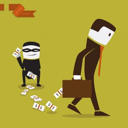 empresario: Hombre de negocios que perdieron dinero en una inversi�n, ilustraci�n de dise�o vectorial.