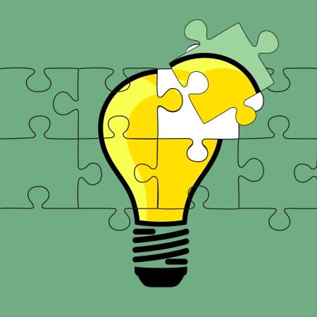 Abstrakt R�tsel L�sung mit der Lampe Abbildung vecter Design EPS10 Illustration