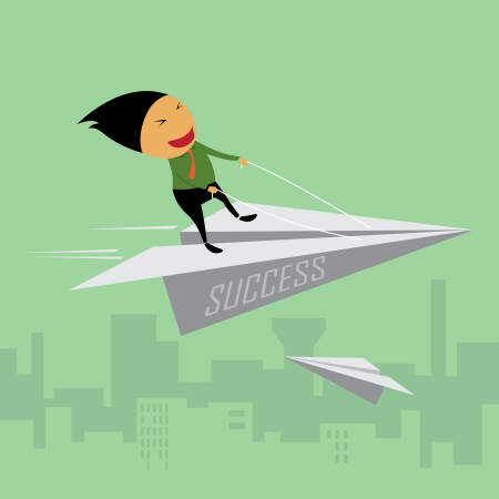 Businessman riding a paper airplane Stock Vector - 23257546