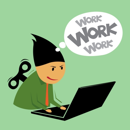 conputer: Abstract hard work businessman, Illustration by vector design EPS10  Illustration