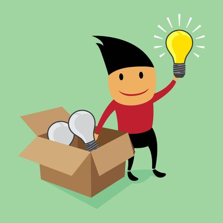 outside box: Creative thinking outside the box Illustration