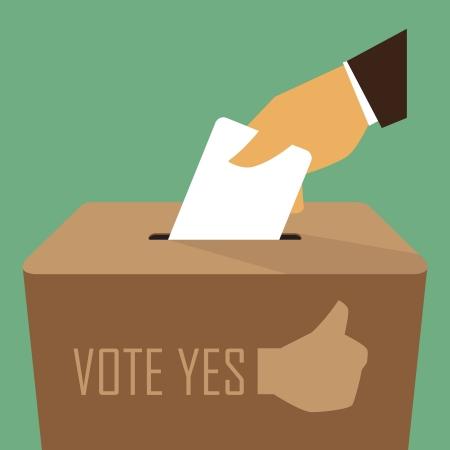 Stimmabgabe an der Wahlurne, Illustration von Vektor-Design EPS10 Illustration