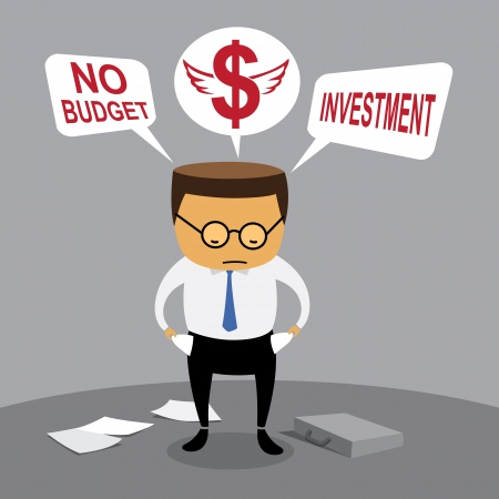 credit crisis: Businessman investment, no budget, Business concept