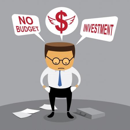 Businessman investment, no budget, Business concept