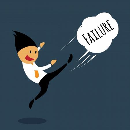 violence in the workplace: Emociones de fracaso del hombre de negocios por patear lejos, conceptual ilustraci�n vectorial. Vectores