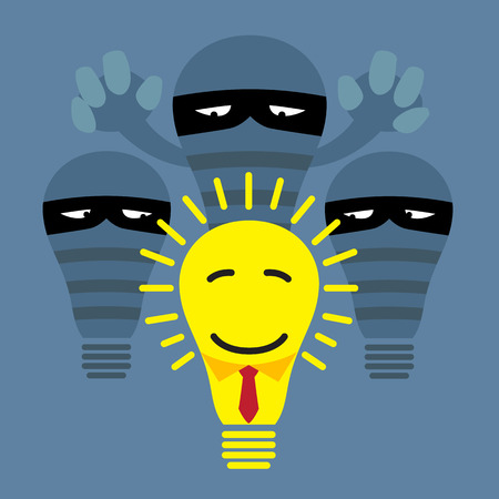 Piracy, thief stealing light bulb from a lamp illustration Vector