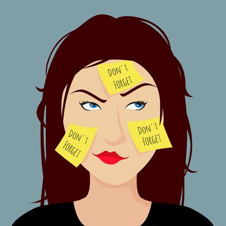 Chica olvidadiza pegado una pegatina amarilla en la cara Foto de archivo - 26375839