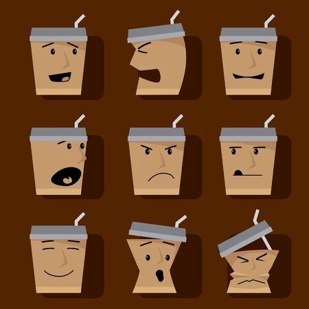 Kaffeetassen-Icon-Set Zeichenelemente Illustration