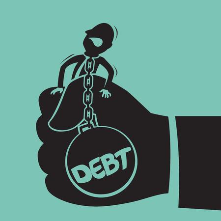 hold hand: Uomo d'affari con il debito in mano tenere
