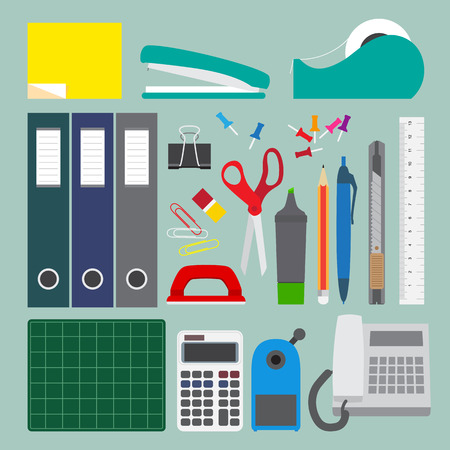 hole puncher: Office stationery set with simple style illustration