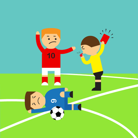 Referee showing the red card to a soccer player who making tackle foul illustration Vector