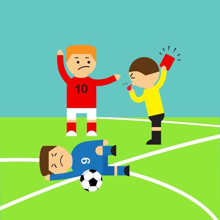 Schiedsrichter zeigt die Rote Karte zu einem Fu�ballspieler, der Angriff machen Foul Illustration Illustration