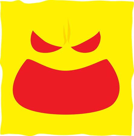 motivated: Angry facial expressions on yellow paper note Illustration