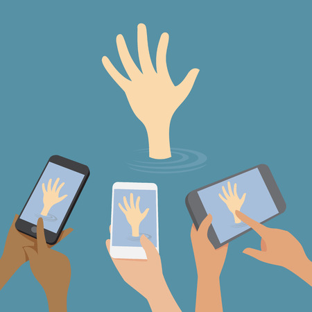 Hand signal for help, so many people using smartphones are shooting. Vector
