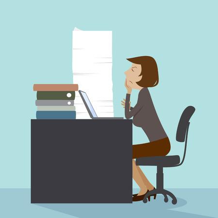 too: Working woman, illustration design.