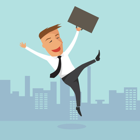 Happy businessman, illustration design.
