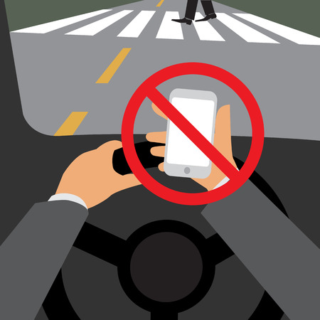 , 일러스트 디자인을 운전하는 동안 위험, 휴대 전화를 사용하지 마십시오. 스톡 콘텐츠 - 31060771