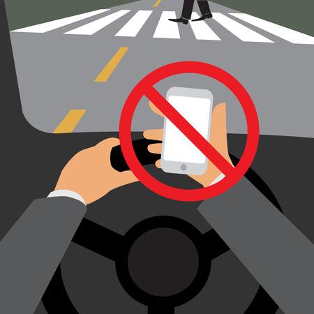 Gevaar, geen gebruik maken van uw telefoon tijdens het rijden, Illustratie design. Stock Illustratie