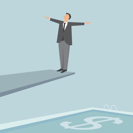 springboard: Hombre de negocios en un trampol�n, dise�o ilustraci�n.