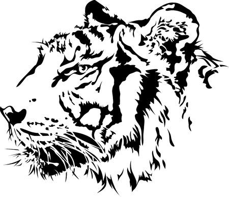 タイガー ヘッド シルエット、イラスト ベクトル デザイン。