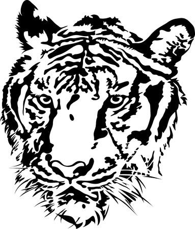 siberian tiger: Tiger head silhouette, illustration vector design.