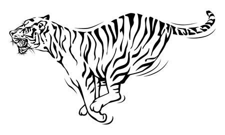 Tiger running, illustration design.