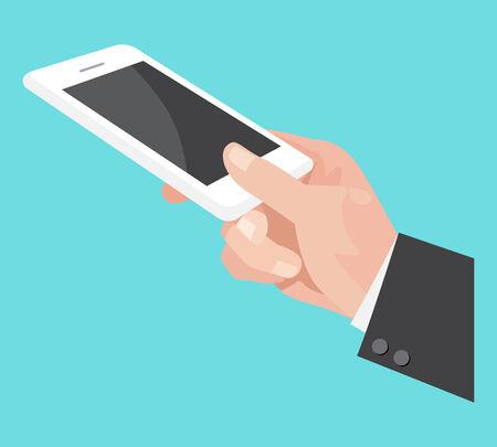 Menschliche Hand, die Handy, Illustration, Design.