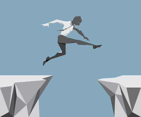 risks ahead: The Business Man Jump across the chasm, illustration and design. Illustration