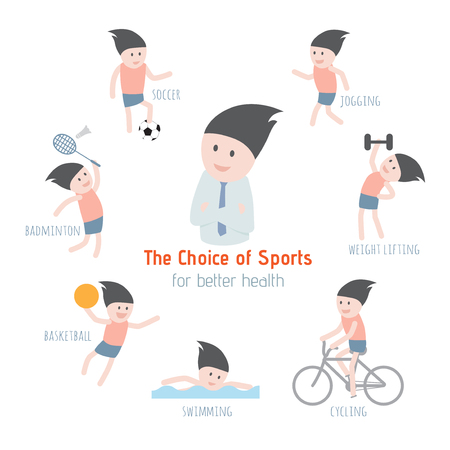 The Choice of Sports for better health. Vector