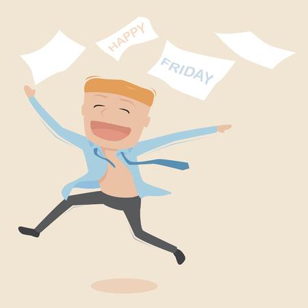 Businessman gl�cklich am Freitag, Vektor-Illustration.