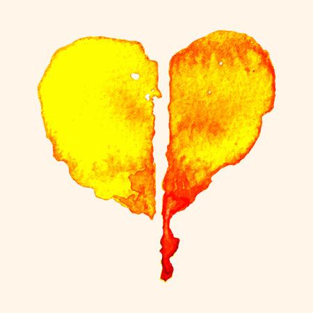 corazon roto: Roto el coraz�n de la pintura con acuarela sobre papel