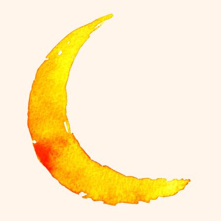 Luna creciente de la pintura con acuarela sobre papel Ilustración de vector