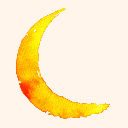 Crescent moon of painting with watercolor on paper