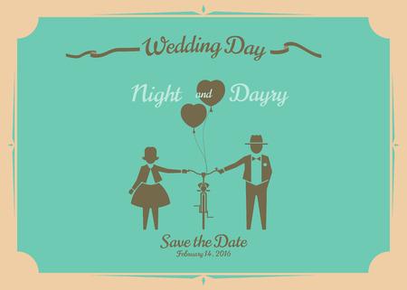Wedding invitation card, vector design.