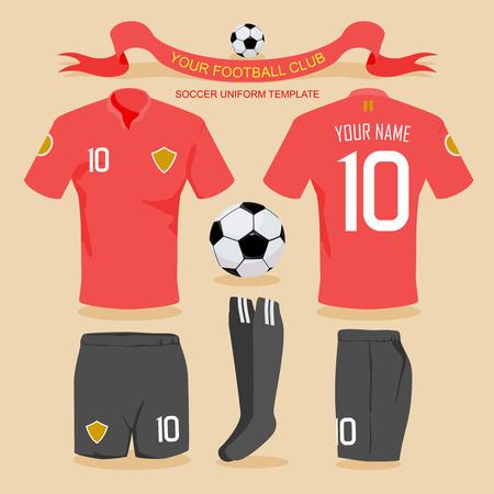 Plantilla uniforme del fútbol por su club de fútbol, ??ilustración de diseño vectorial. Foto de archivo - 40044347