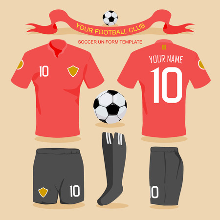football kick: Soccer uniform template for your football club, illustration by vector design.