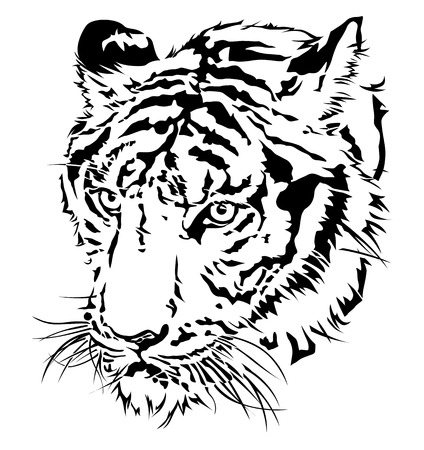 tigre caricatura: Silueta de la cabeza del tigre, diseño ilustración vectorial.