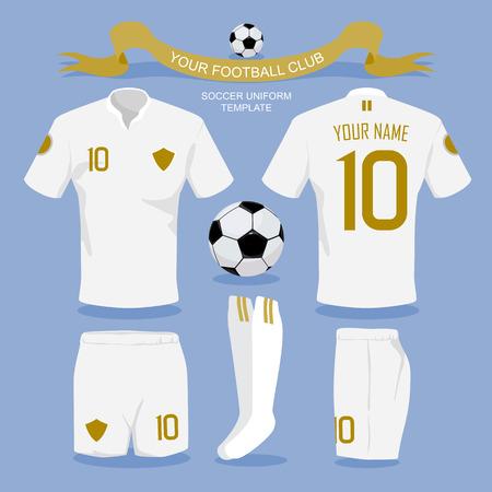 Plantilla uniforme del fútbol por su club de fútbol, ??diseño ilustración. Foto de archivo - 41579357