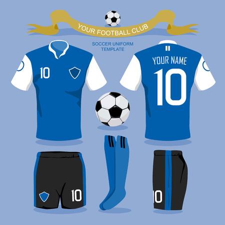 Plantilla uniforme del fútbol por su club de fútbol, ??diseño ilustración. Foto de archivo - 41579473