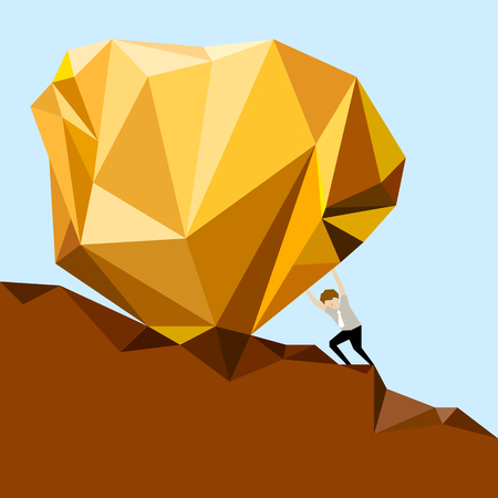 Businessman pushing a rock uphill, simple design, problem, sign, illustration.