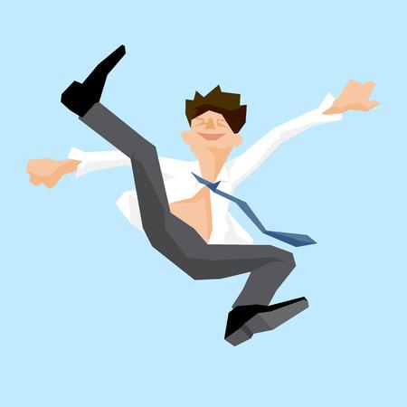 liberation: Businessman jump, joy, liberation, simple design, vector illustration.