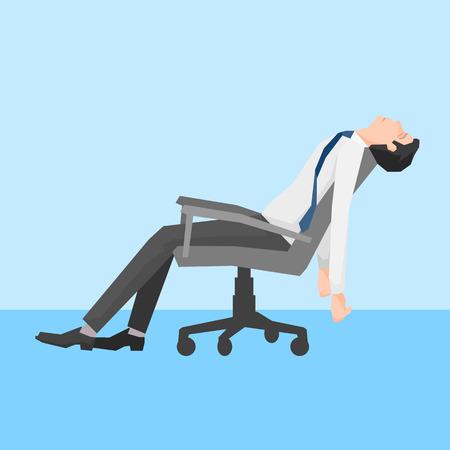 Ein Mann erschöpft auf einem Stuhl, übersichtliches Design, Vektorillustration. Vektorgrafik