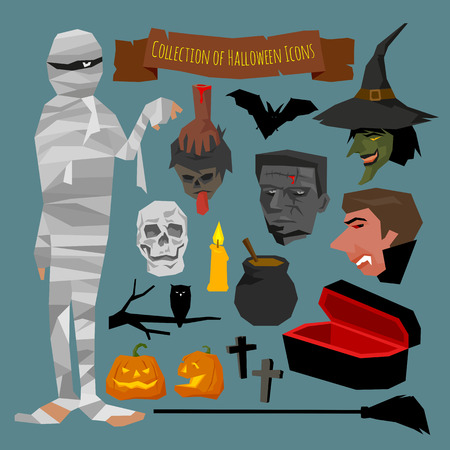 Collection of Halloween icons, vector illustration, simple design.