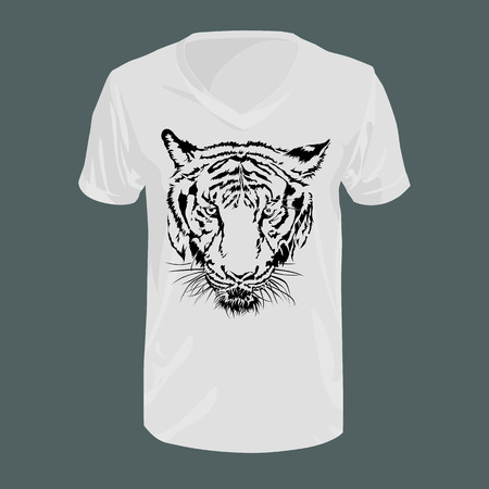 Graphic tiger black and white on t-shirt, fashion, vector illustration.