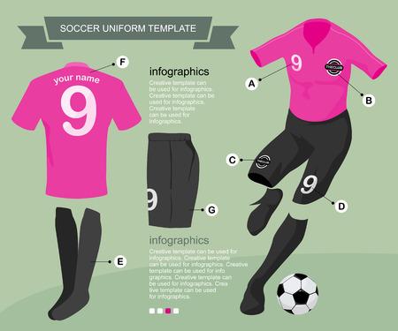 Fu�balluniform-Vorlage f�r Ihr Fu�ball-Club, Abbildung von Vektor-Design. Illustration