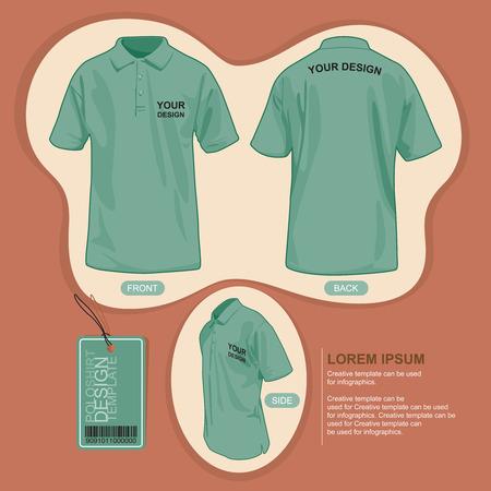 backview: Polo shirt uniform template, illustration by vector design. Illustration