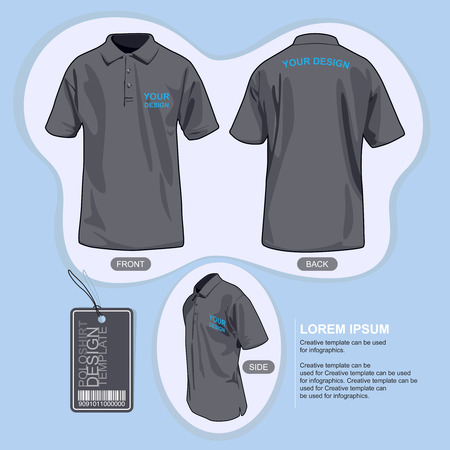 back view man: Polo shirt uniform template, illustration by vector design. Illustration