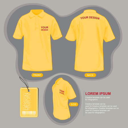 man back view: Polo shirt uniform template, illustration by vector design. Illustration