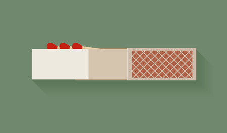 box of matches: Box of matches, simple design, illustration.